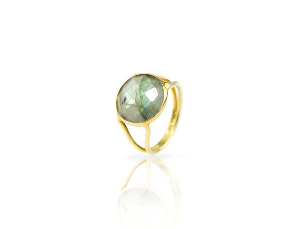 Rainbow Labradorite Ring with double shank in Gold vermeil (sold out)
