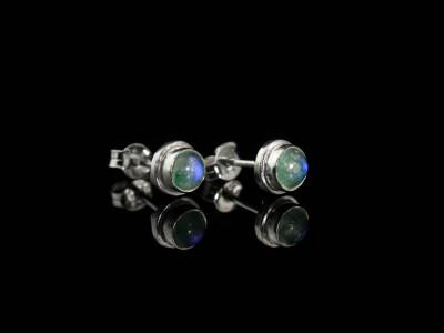 Green Moonlight ear studs | Moonstone set in Sterling Silver (sold)