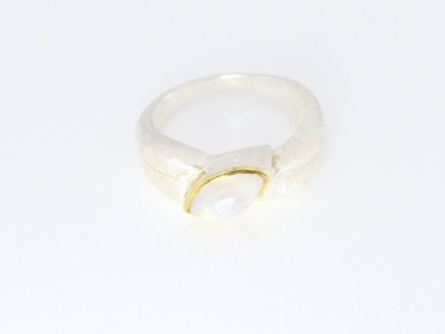 Moonstone Eye - Sterling Silver ring with gold applications (sold out)