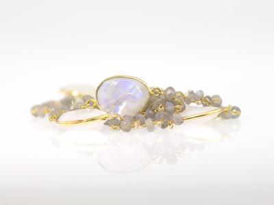 MOONSTONE MEETS LABRADORITE | Bracelet in Gold vermeil (made to order)