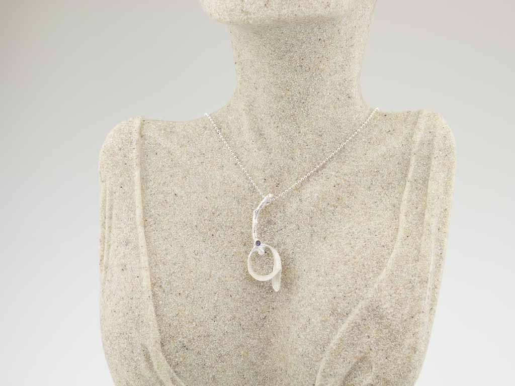 MISTLETOE WITH RAINBOW MOONSTONE | Sterling Silver necklace (made to order)