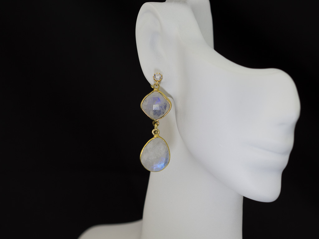 DOUBLE RAINBOW MOONSTONE & SPARKLE   Earrings set in Gold vermeil Sterling Silver (sold)