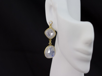 DOUBLE RAINBOW MOONSTONE & SPARKLE | Earrings set in Gold vermeil Sterling Silver (sold)