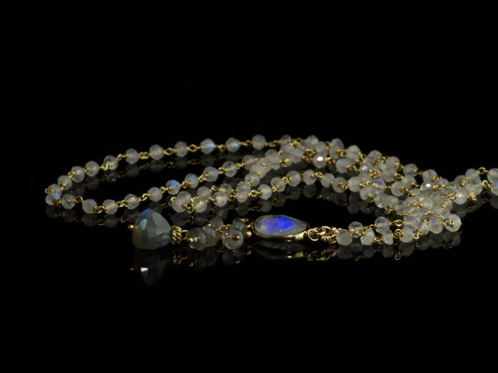 MOON OVER LABRADOR | Necklace from Moonstone with Labradorite | Gold vermeil (Sold Out)