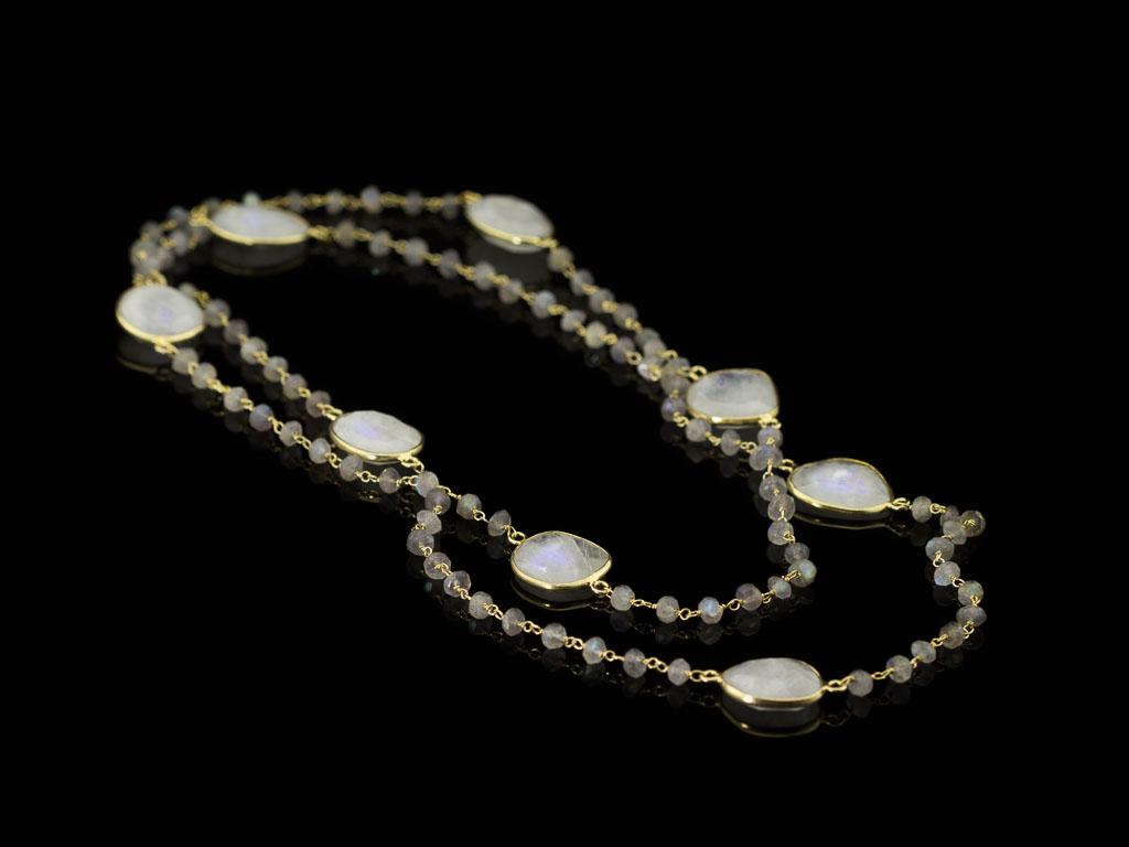 MOONSTONE MEETS LABRADORITE | Necklace in Gold vermeil (sold)