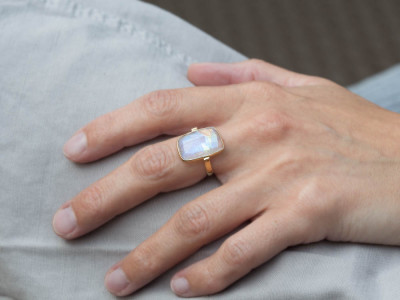 MOONBOW  | Rainbow Moonstone Ring | Gold Vermeil (made to order)