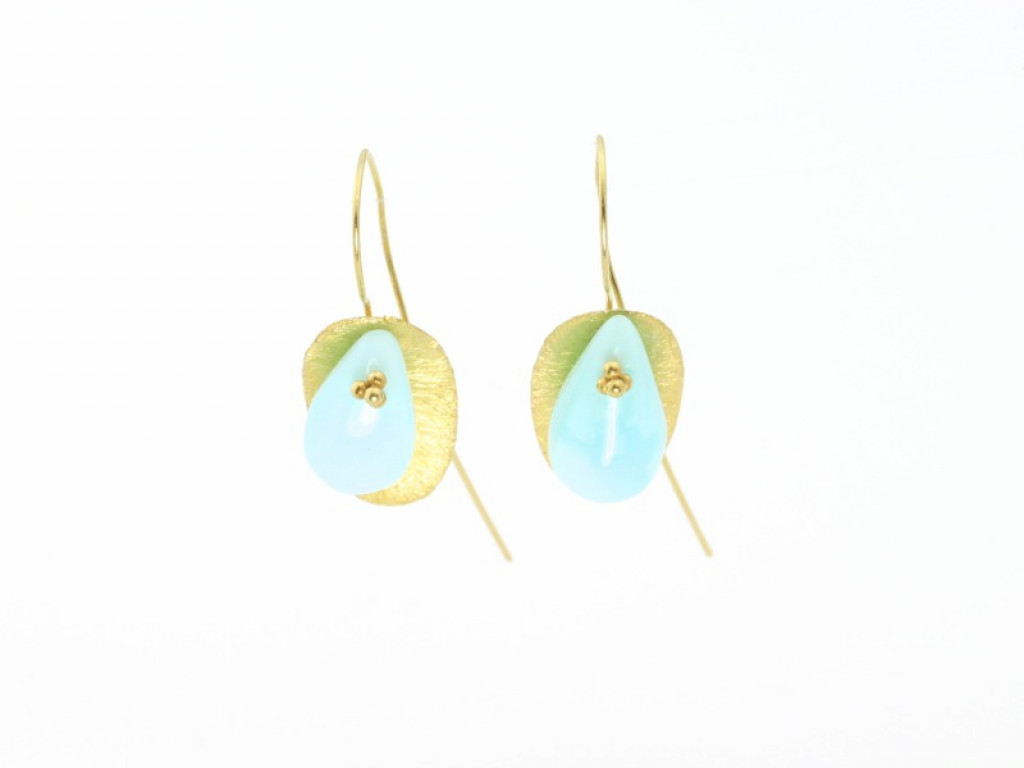 Blue Peruvian Opal Gold leaf earrings (sold out)
