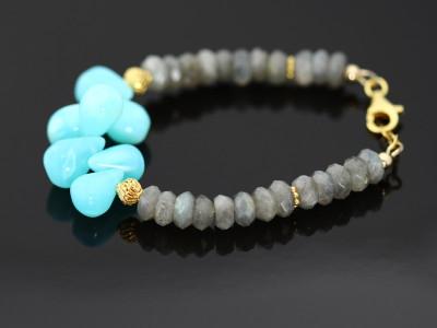 Blue Peruvian Opal Labradorite Gold bracelet (sold out)