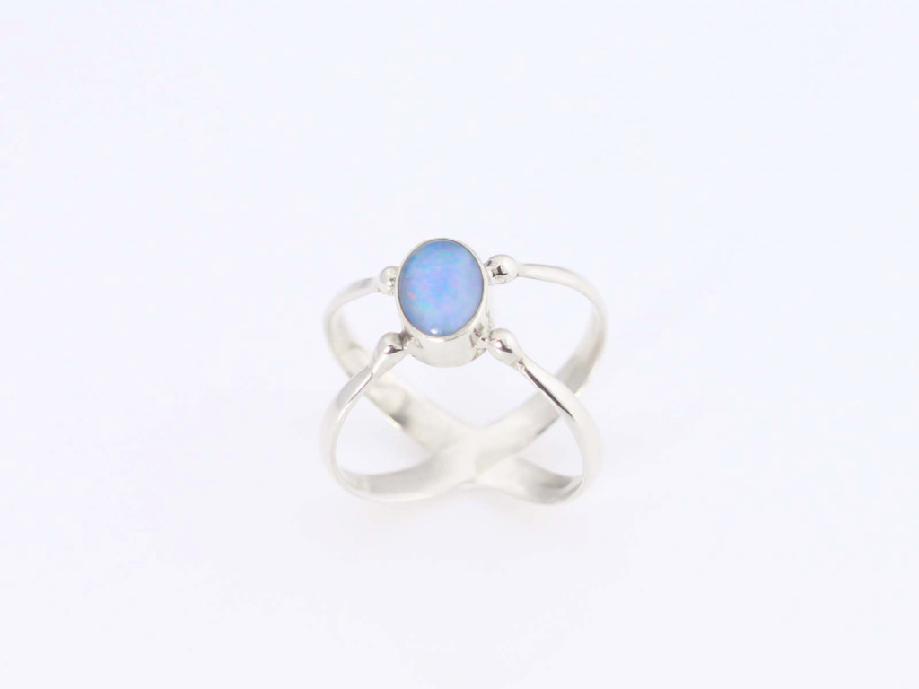 Opal Crossover Sterling Silver Ring (sold out)