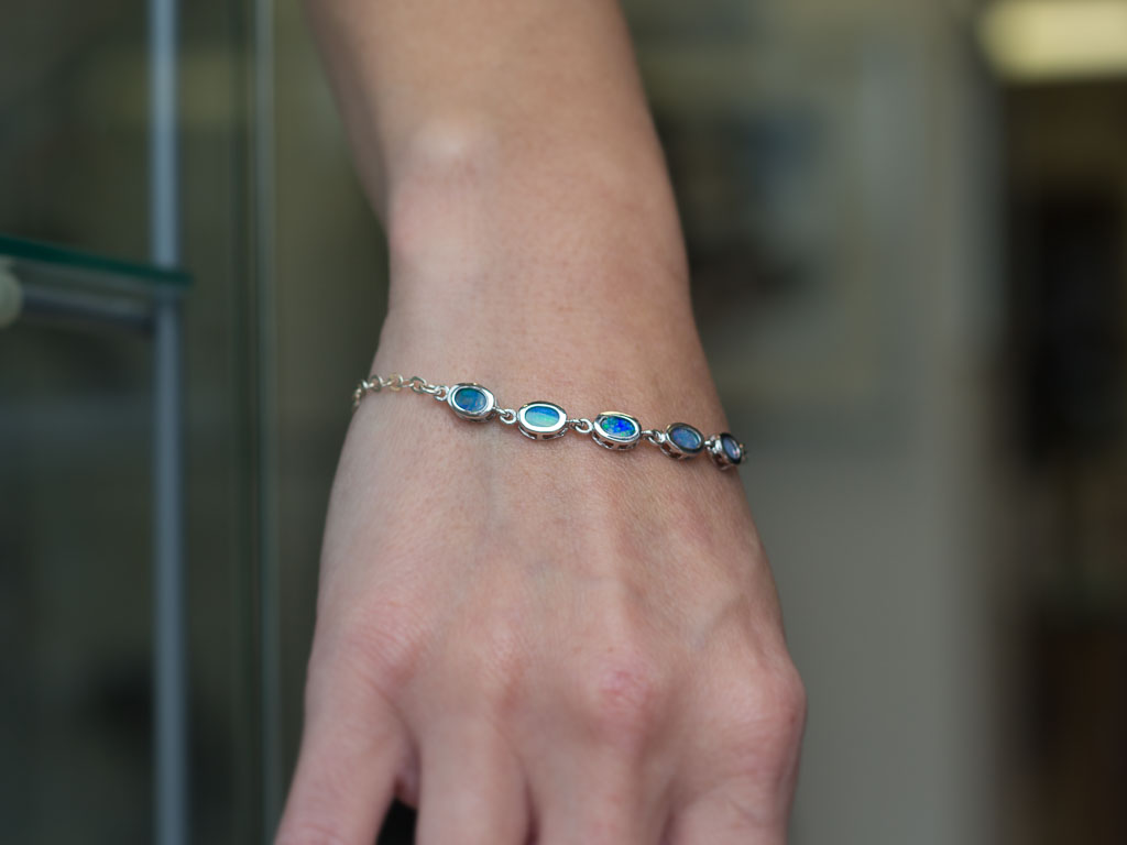 FIVE IN A ROW   Blue Opal bracelet in Sterling Silver (made to order)