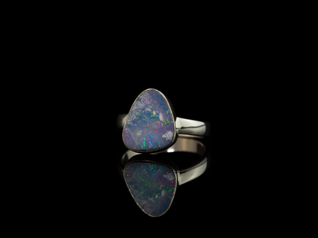 BLUE OVAL OPAL    Sterling Silver Ring