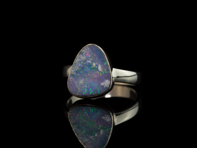 BLUE OVAL OPAL |  Sterling Silver Ring
