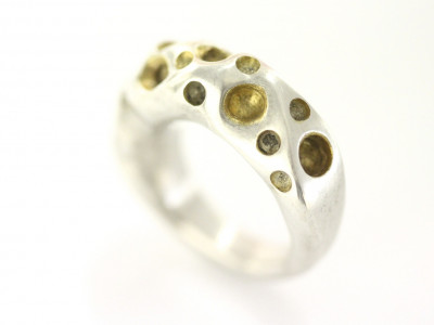AMORPH | Chunky Sterling Silver Ring with partial 24 K Gold plating