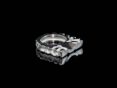 Labyrinth | Chunky hand carved Sterling Silver Ring partially polished