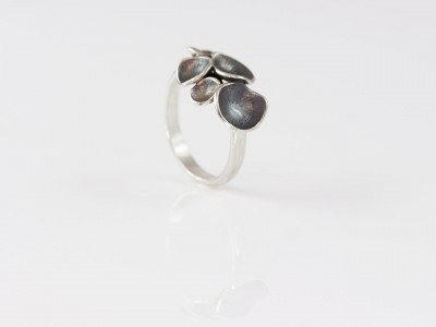 Little Enchanted Mushrooms (dark version) | Ring topped with tiny seed pods cast in Sterling Silver (made to order)