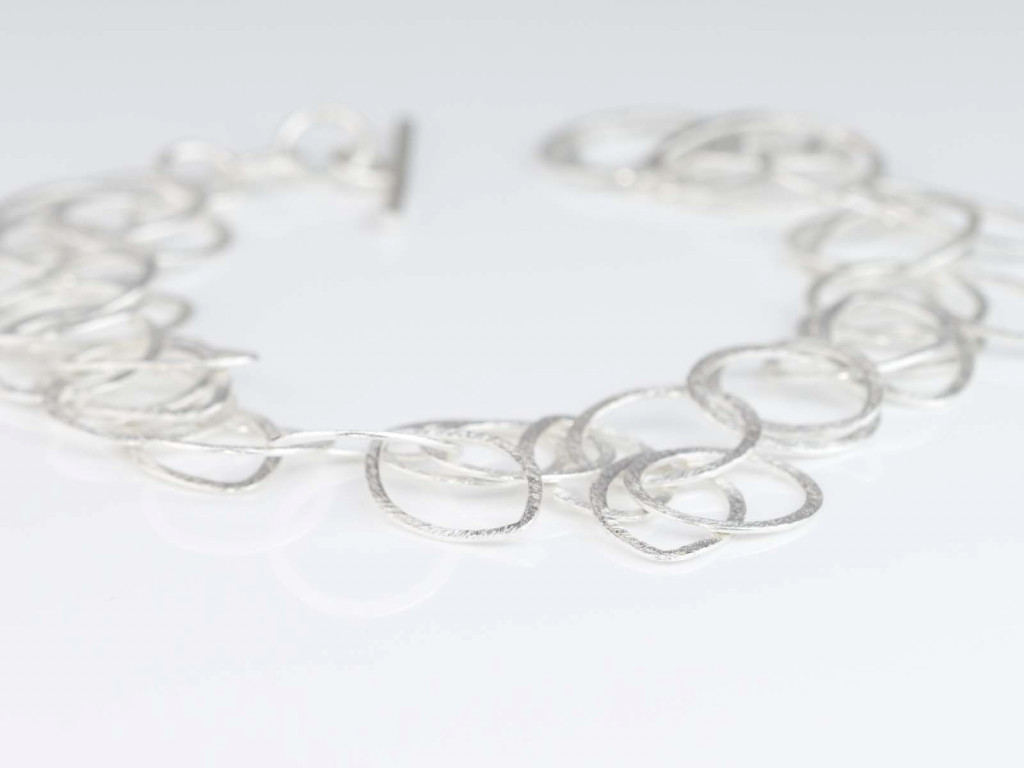 Sterling Silver Loops | bracelet handcrafted cloud shaped loops with a structured surface (sold)