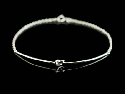 The Knot Bracelet | polished Sterling Silver with chain (custom order)