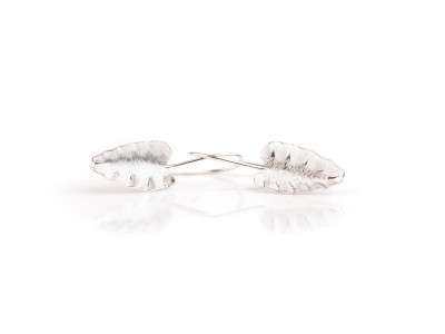Brushed Leaf Earrings | Sterling Silver with white matte brushed finish (Sold Out)