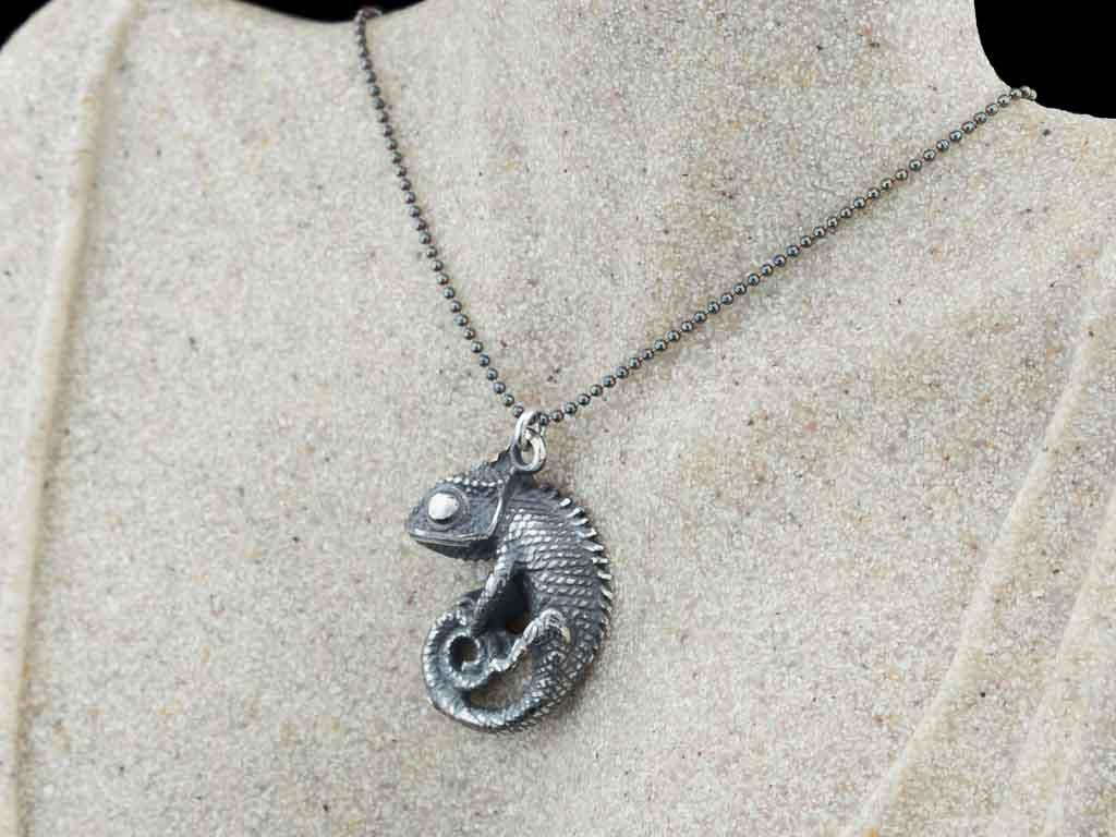 BLACK CHAMELEON   Sterling Silver necklace with gemstone option