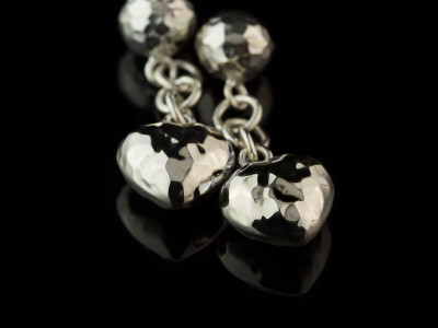 High Polished Hearts | Sterling Silver Cufflinks with Silver chain