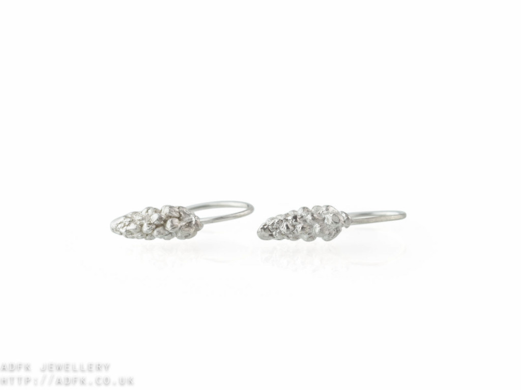 Humulus Lupulus | Sterling Silver ear hoops with cast hop cones (sold)