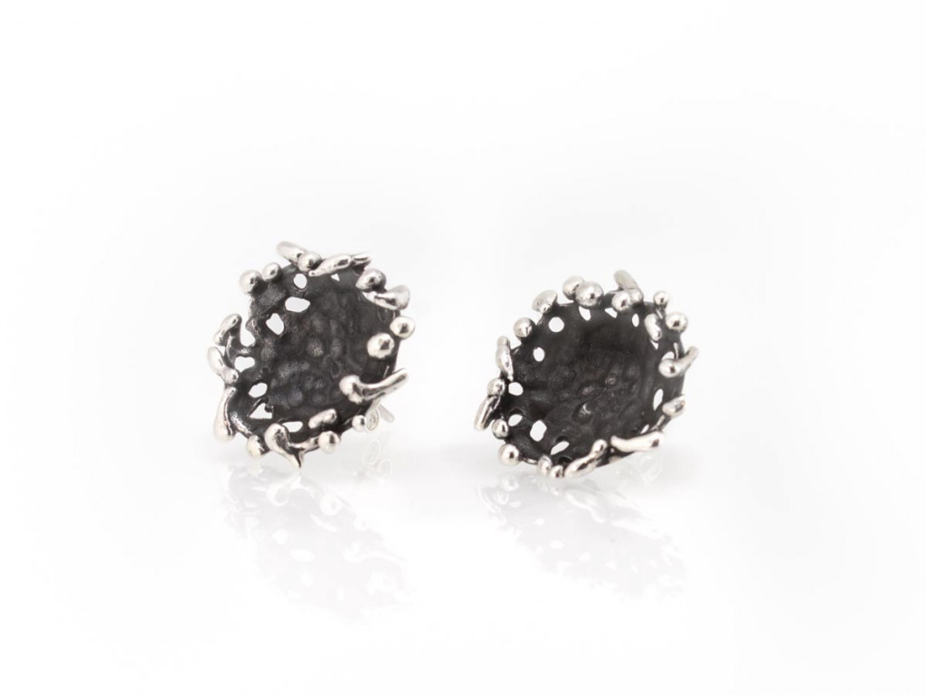 BIRDS ON A PLATE EAR STUDS | Sterling Silver | matte and shiny