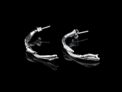 LONG CURVED TWIGS   Sterling Silver earrings (made to order)