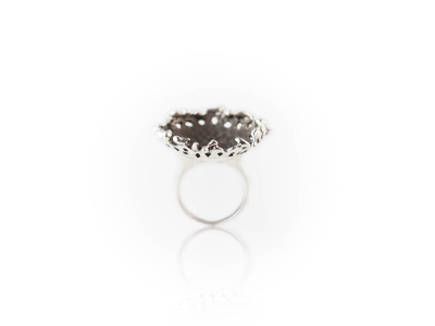 BIRDS ON A PLATE RING   Sterling Silver   matte and shiny (sold)