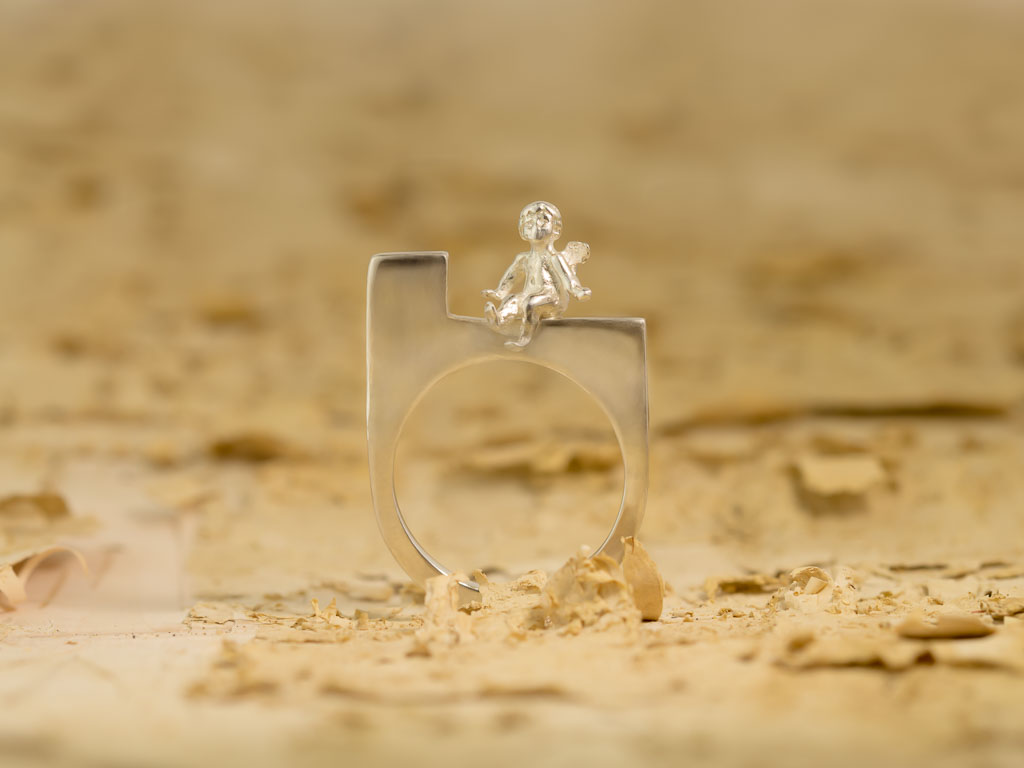 GUARDIAN ANGEL   Solid Sterling Silver ring in Bauhaus style (Sold out)