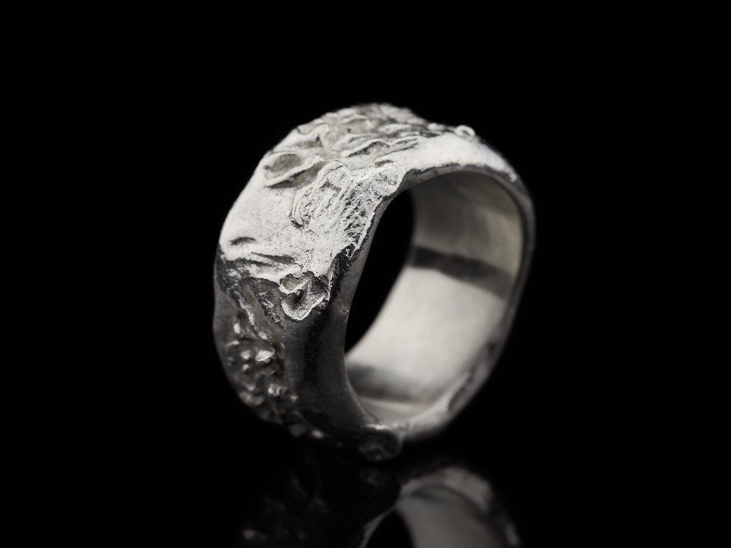 CORAL IMPRINT   Solid Sterling Silver ring with organic structure