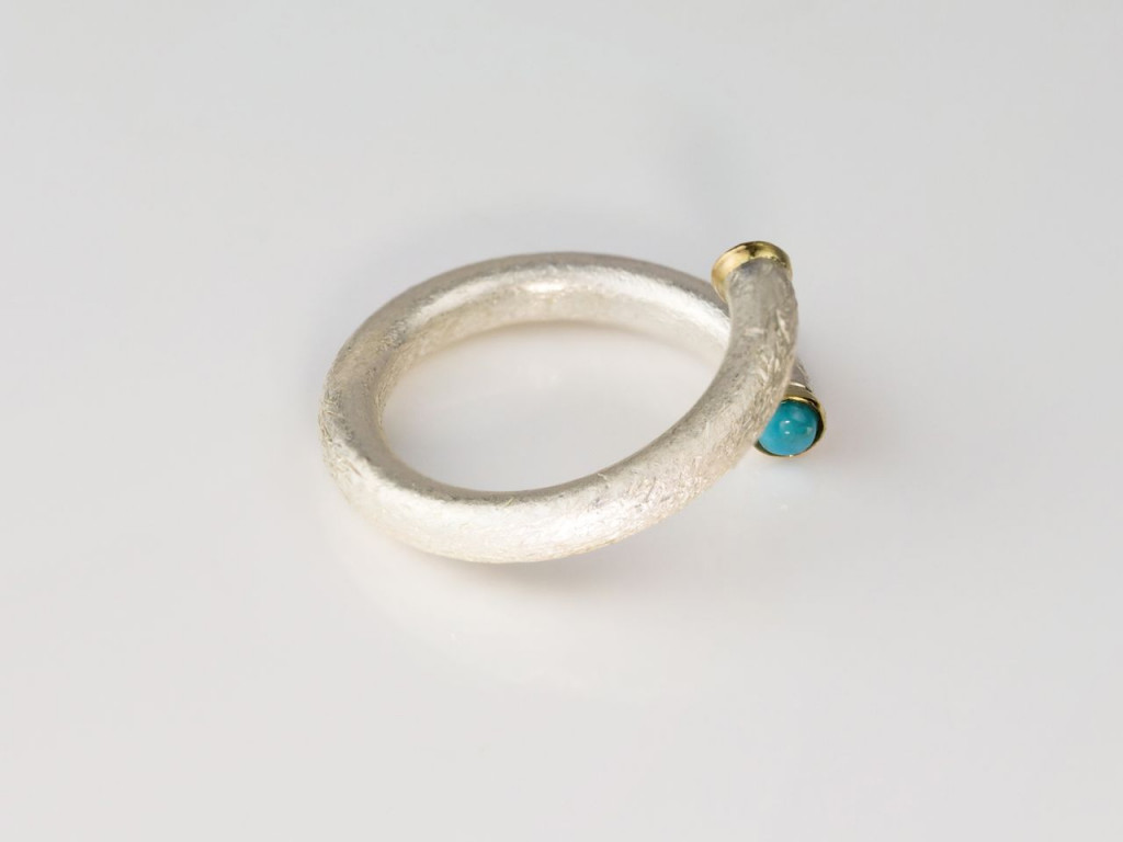 Open brushed Sterling Silver Ring with a Gold framed Citrine and Turquoise (sold out)