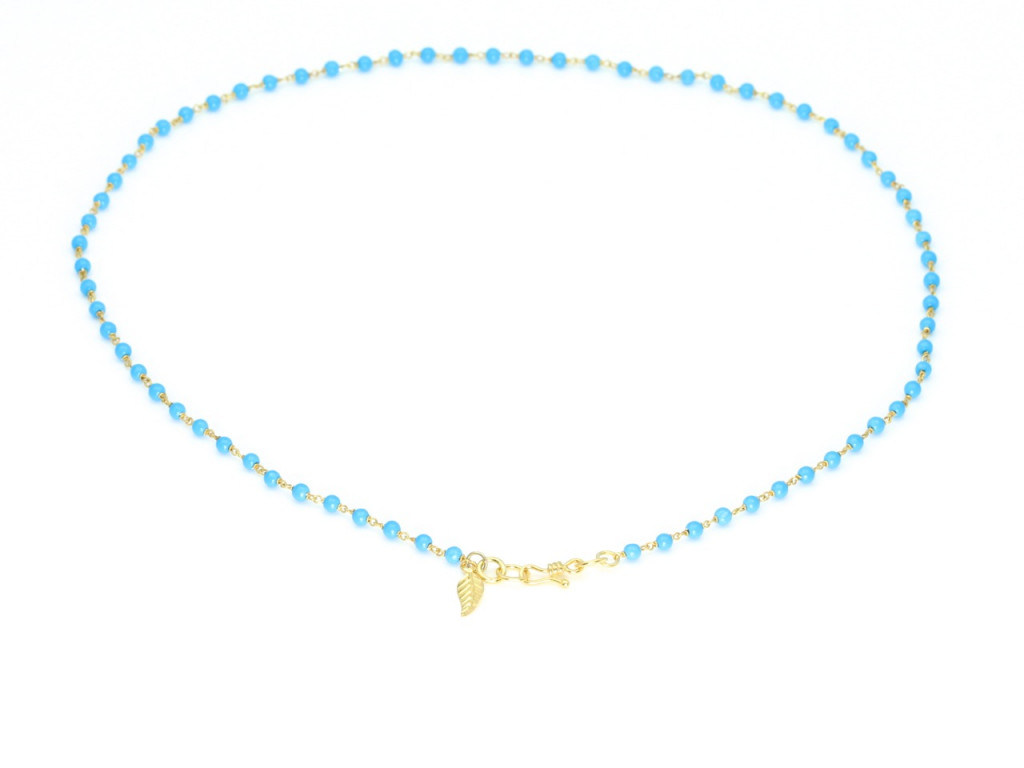 Turquoise Necklace with Golden Leaf (sold out)