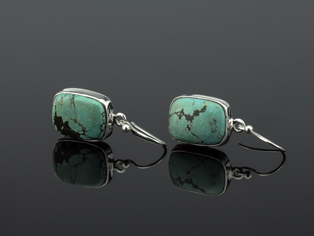TURQUOISE NEVADA | Sterling Silver dangly earrings