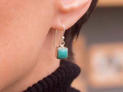 TURQUOISE SQUARES | Sterling Silver Earrings (sold)