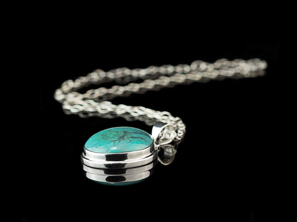 OVAL TURQUOISE CABOCHON | Sterling Silver necklace (sold)