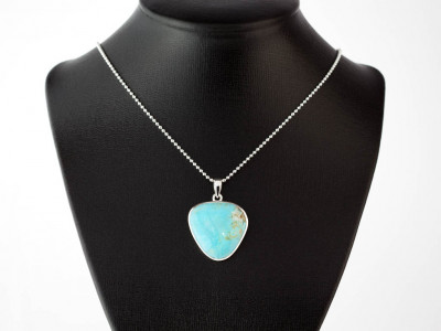 TURQUOISE BLUE TRIANGLE | Sterling Silver necklace with polished pendant (sold out)
