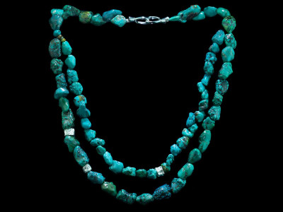 Turquoise Double Twist necklace wth Sterling Silver reticulated nuggets