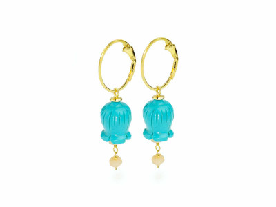 Gold earrings with Turquoise carved Lilies of the Valley and Pink Opal (sold out)
