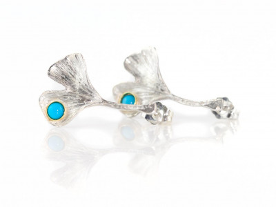 Ginkgo Leaf Earrings | Turquoise on Sterling Silver with brushed finish 9ct Gold bezel (sold out)