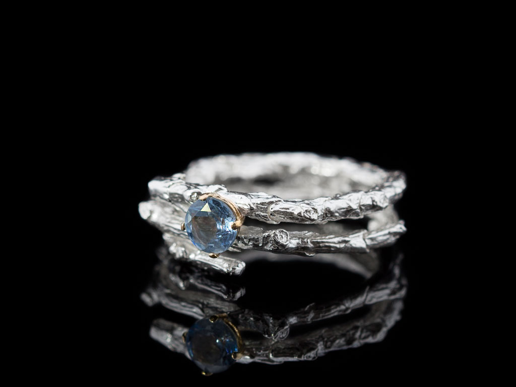 Ring Aquamarine White Gold Blue Twig Double Solid 18k