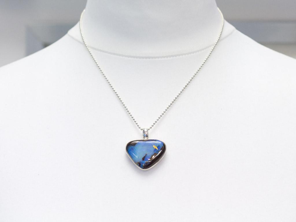 opal necklace sterling silver blue boulder large