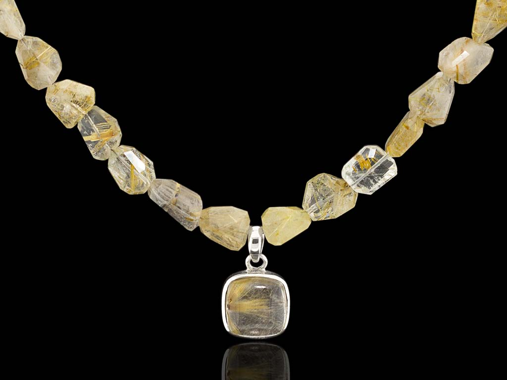 Golden Rutilated Quartz Necklace Venus Hair Sterling