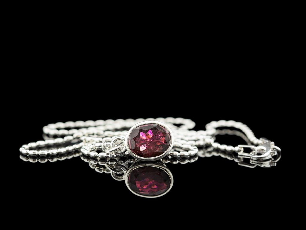 Tourmaline Necklace Pink Sterling Silver Large Shiny