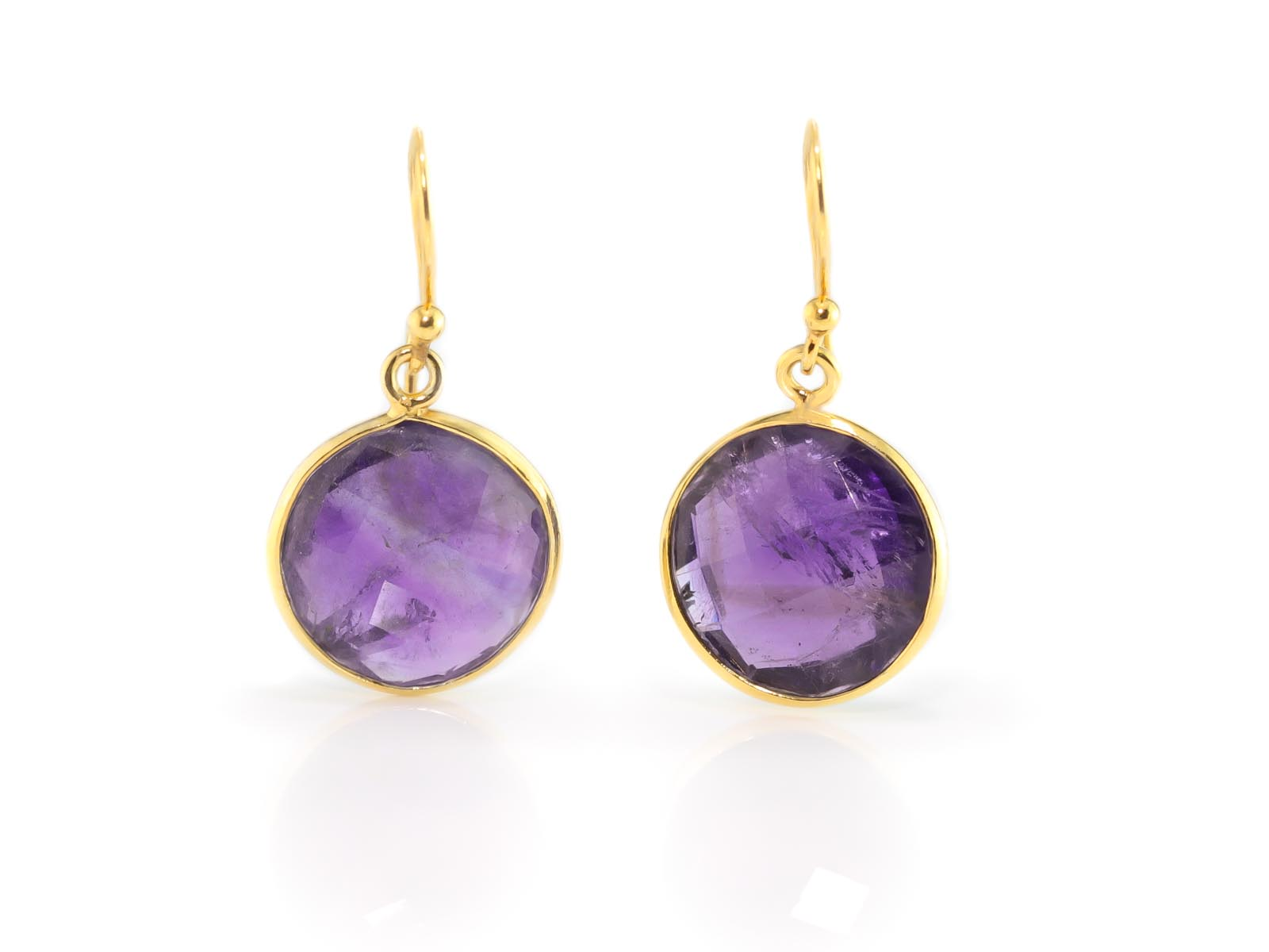 dangly amethyst gold earrings with round faceted discs. Black Bedroom Furniture Sets. Home Design Ideas