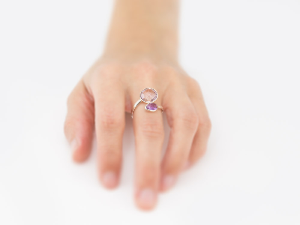 Double Amethyst Open Sterling Silver Ring With 2 Stones