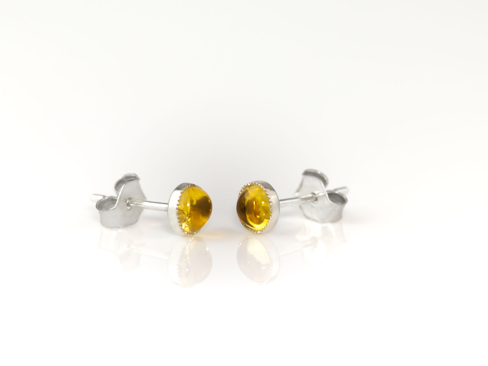 Little Yellow Dots Citrine Ear Studs In Sterling Silver