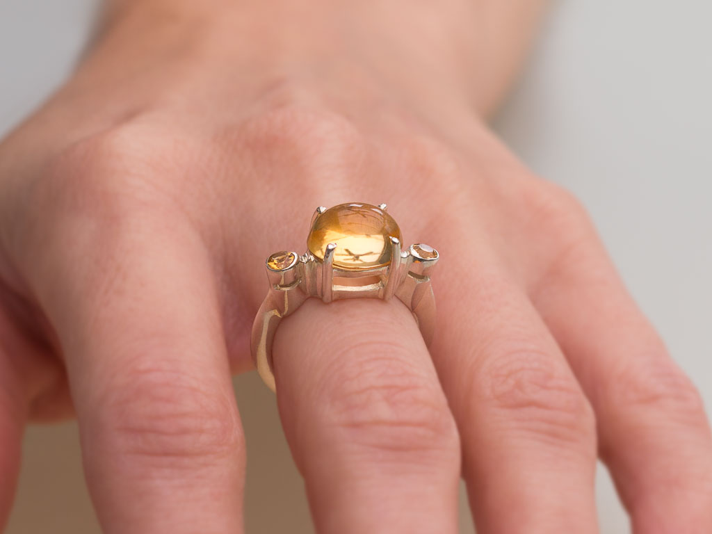 Triple Citrine Dome Sterling Silver Ring With 3 Citrines
