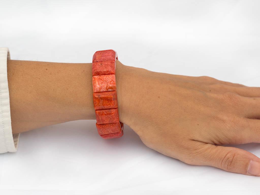 Orange Ocean Sponge Coral Bracelet In Emerald Cut