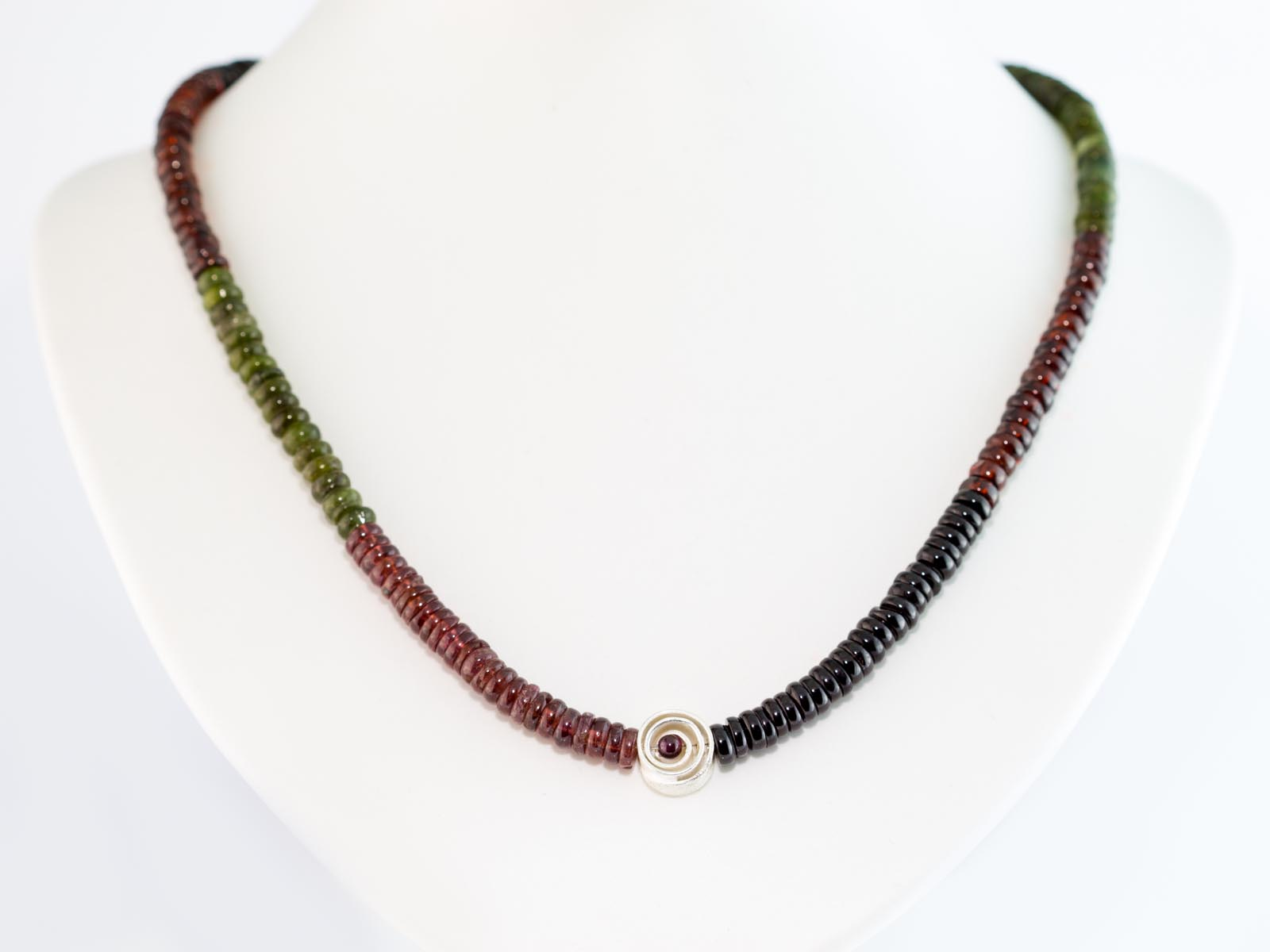Three colour garnet necklace sterling silver swirl for Red black and green jewelry