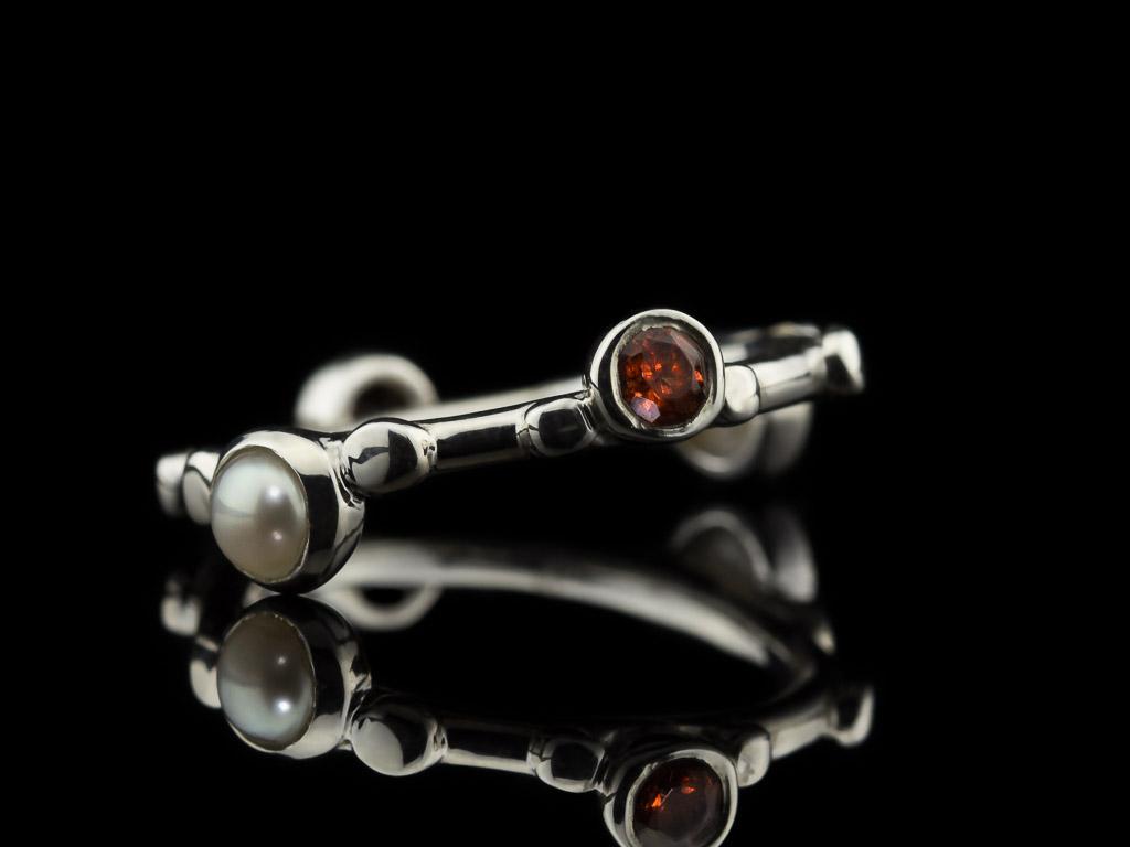 granat perle 925er silberring mit 4 steinen. Black Bedroom Furniture Sets. Home Design Ideas